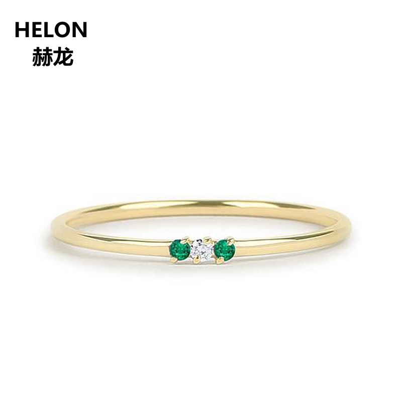 Natural Emerald And Diamond Ring Solid 14k Yellow Gold Thin Stacking Minimalist Promise Ring May Birthstone Engagement Wedding