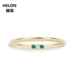 Кольцо с природным Изумрудом и бриллиантом, твердое кольцо из 14k желтого золота, тонкое, в комплекте, кольцо в стиле минимализма, камень для р...