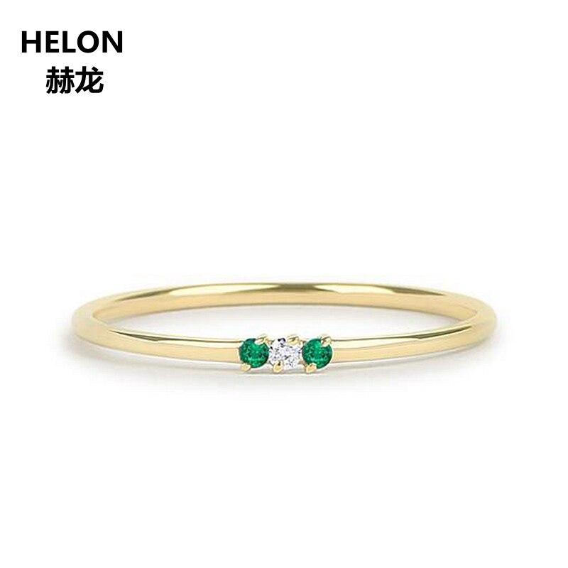 มรกตธรรมชาติและแหวนเพชร 14 k สีเหลืองทองบางซ้อน Minimalist Promise แหวน Birthstone หมั้นงานแต่งงาน-ใน ห่วง จาก อัญมณีและเครื่องประดับ บน   1