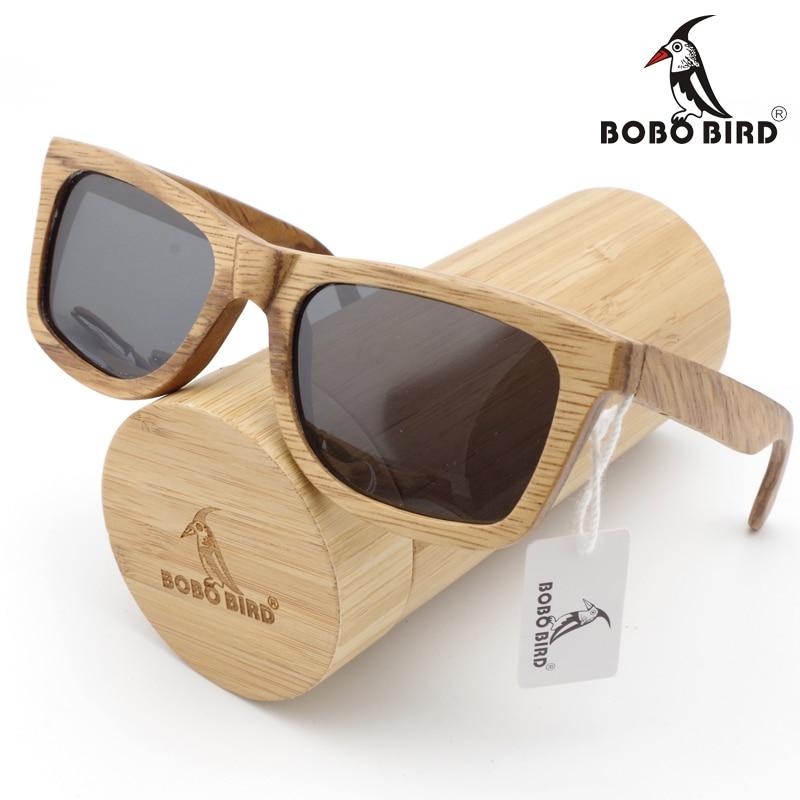 dfb5facfea77c BOBO PÁSSARO Moda Homens óculos de Sol Polarizados óculos De sol de Bambu  De Madeira Personalizado