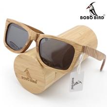 Бобо птица Мода 2016 года Для мужчин Солнцезащитные очки пользовательские Древесины Бамбука Солнцезащитные квадратные piltor Óculos feminino De Sol поляризованные в подарочной коробке