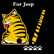 Cartoon Funny Cat Moving Tail Car Stickers Reflective Decals For Jeep Liberty Renegade Wrangler Commander