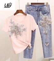L&Y Heavy Embroideried 3D Floral Applique T shirt + Jeans Women Set Short Sleeve EU Denim Suits 2 Piece Sets Summer Vestidos