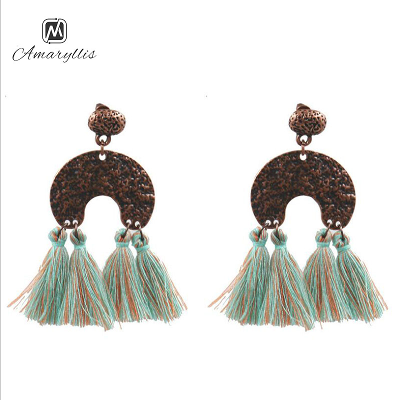 Amaiyllis Bohemia Mix Color Cotton Tassel Fringe Pendant Dangle Earrings For Women Ethnic Hammer Crescent Moon Geo Drop Earrings