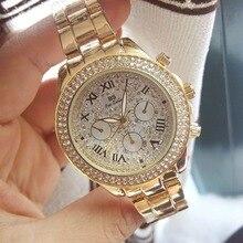Nuevas Llegadas Famosa Marca BS Llena de Diamantes de Tres Ojos Dial Grande Del Reloj de Señora Vestido Reloj Bling Crystal Bangle Relojes de Negocios
