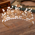 2016 New Bridal Pearl Gold Flower Hair Accessory Vintage Wedding Pearl Crown Gift For Girlfriend Party Queen Headbands