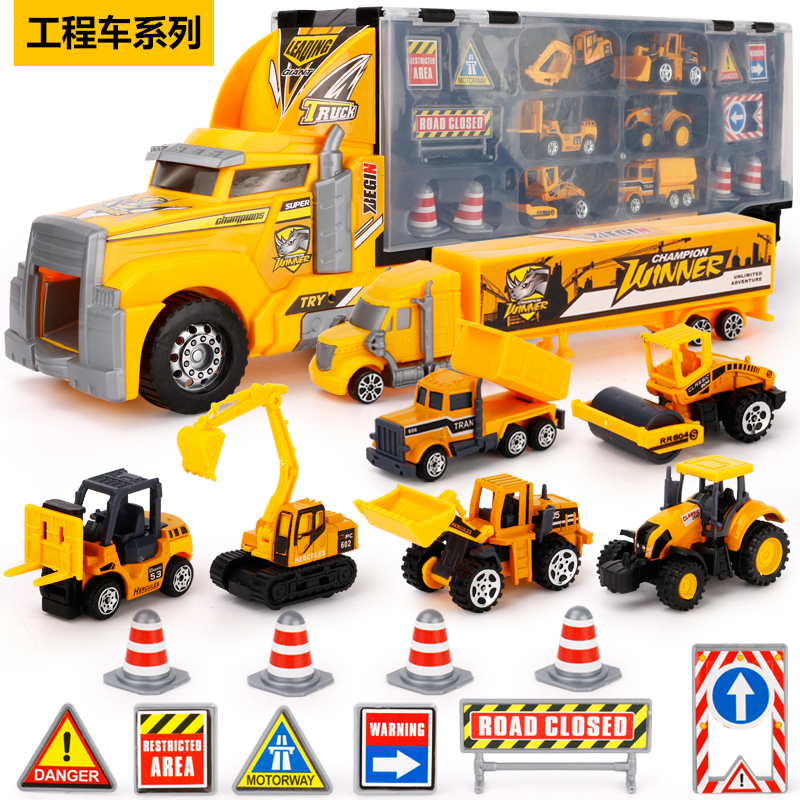 Super Gifts of Christmas for Your Boys 8+10 pcs Diecast Metal Cars Truck Hotwheels Truck cars Toy 6 styles Construction Vehicle все цены