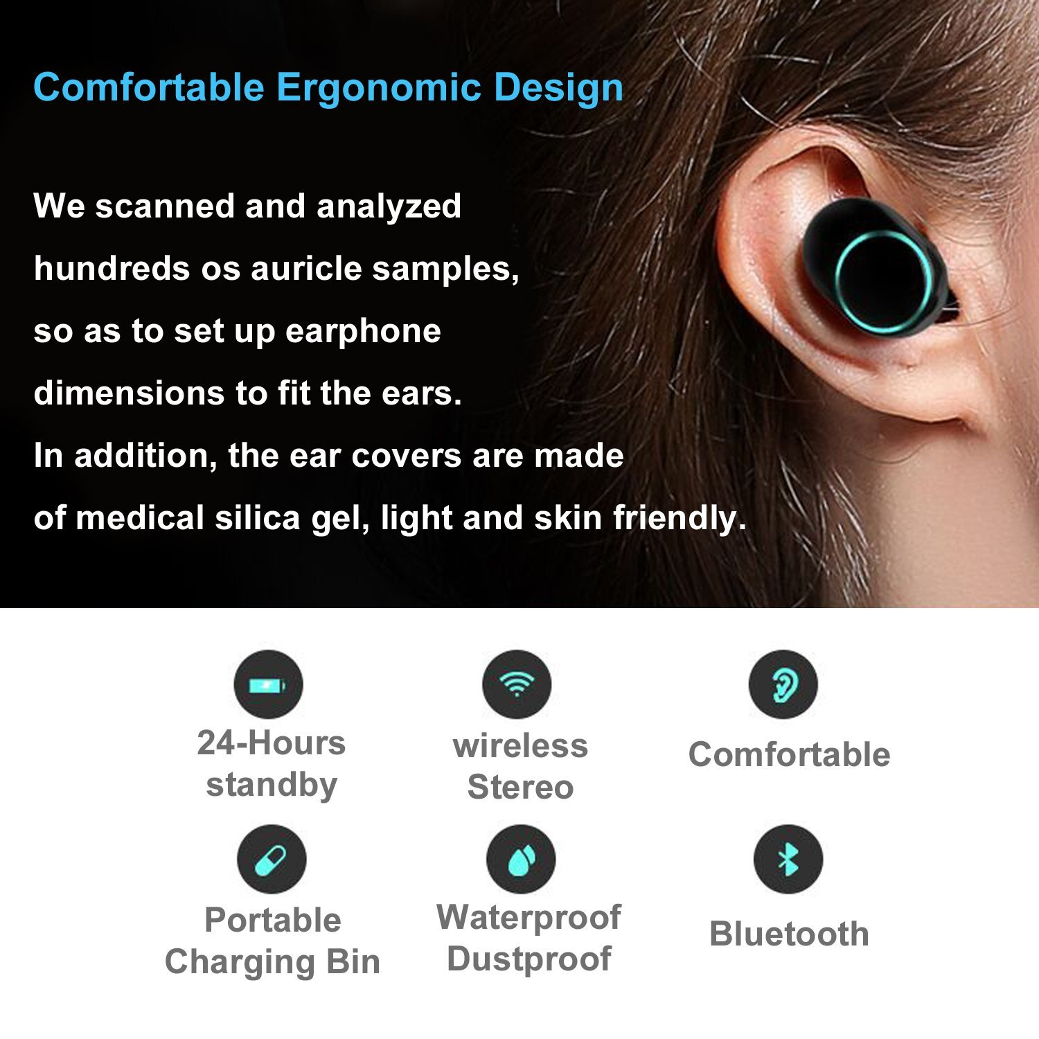 Mini Wireless MicroPhone Headsets Bluetooth 4 2 Portable HiFi Stereo Touch Controlled Earbuds Charging Sweat proof Dust proof in Bluetooth Earphones Headphones from Consumer Electronics