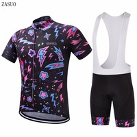 ZASUO 2017 Purple Stars Style Bicycle Short Sleeve Jersey Maillot Ropa Ciclismo Clothing GEL Pad Cycling