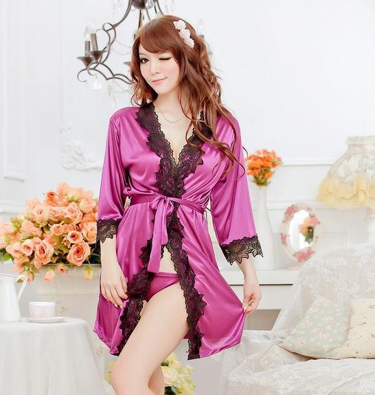 women Sexy lingerie Pajamas underwear Sleepwear Robe and G-String new arrival  Free Shipping M391