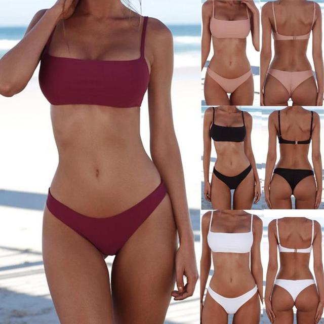 Summer Solid Sexy Bikini Set Women Push-up Padded Bra Swimsuit Swimwear Triangle Bather Suit Swimming Suit biquini 2