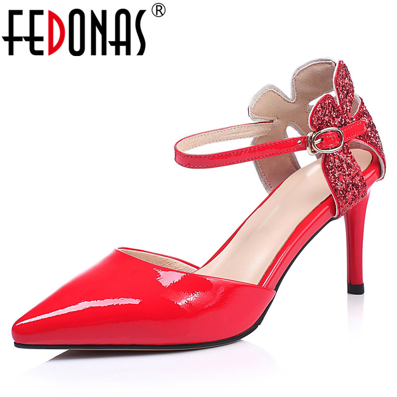 FEDONAS Elegant Office Lady Women Pumps New High Quality Genuine Leather High Heels Night Club Shoes