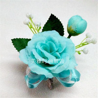 1 pcs Man corsage for Groom groomsman Wrist flowers Blue rose flower Wedding suit Boutonniere accessories pin brooch decoration