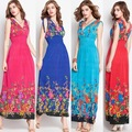 2015 verano estilo de la impresión floral vestidos maxis de las mujeres club de playa ocasional de la gasa floja sin mangas del o-cuello largo elegante dress plus size
