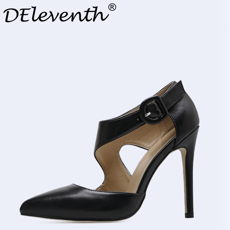 Sexy Women Mary Janes Ankle Strap Hollow Pointed Toe Thin High Heels Shoes OL Office Lady Party Shoes Pumps Zapatos de Taion new fashion thick heels woman shoes pointed toe shallow mouth ankle strap thick heels pumps velvet mary janes shoes