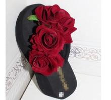 HAHA FLOWER summer women  wedge sandals garden shoes handmade artifical pearl slippers casual original beach sandals
