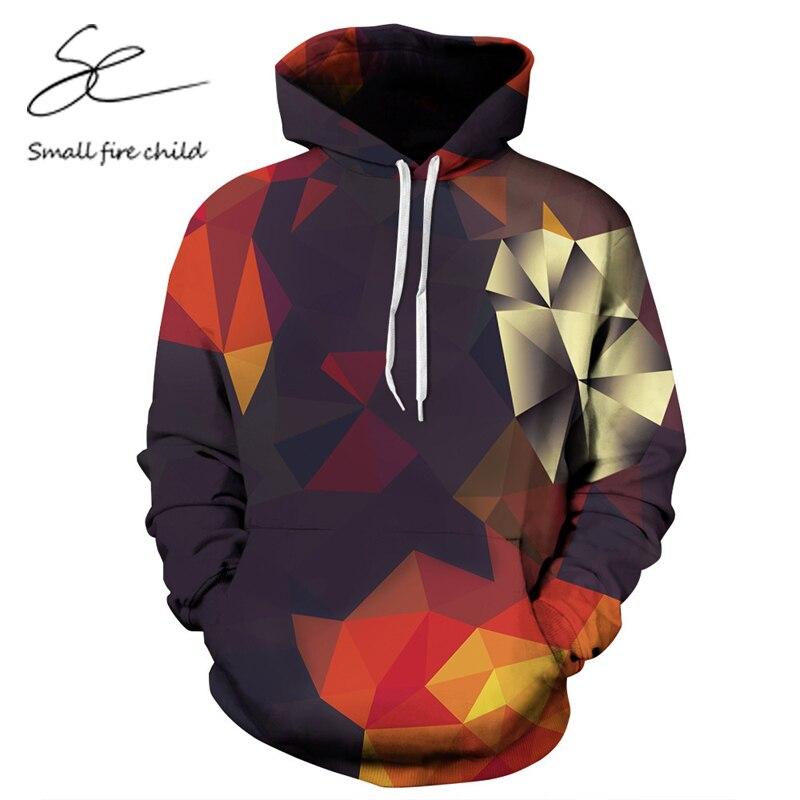 Модные осень-зима с капюшоном Для мужчин/wo Для мужчин 3D геометрической формы Кофты с Кепки печати Пара Толстовки