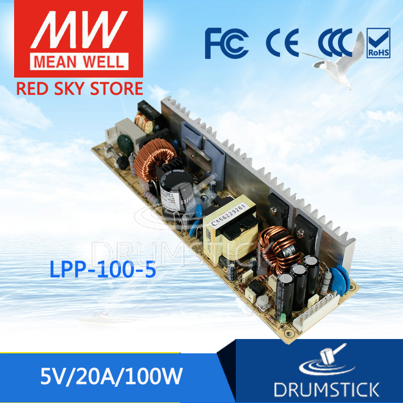 Advantages MEAN WELL LPP-100-5 5V 20A meanwell LPP-100 5V 100W Single Output with PFC Function original mean well lpp 100 24 single output 4 2a 100w 24v meanwell power supply with active pfc open frame lpp 100