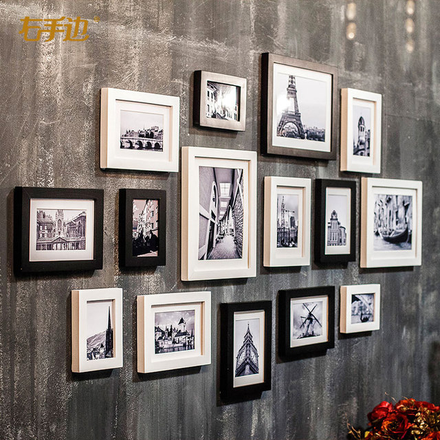 Luxury Photo Frame Set Decorative Home Modern Wood Picture Wall Frames Decoration 15 Pcs Marco Fotos Madera