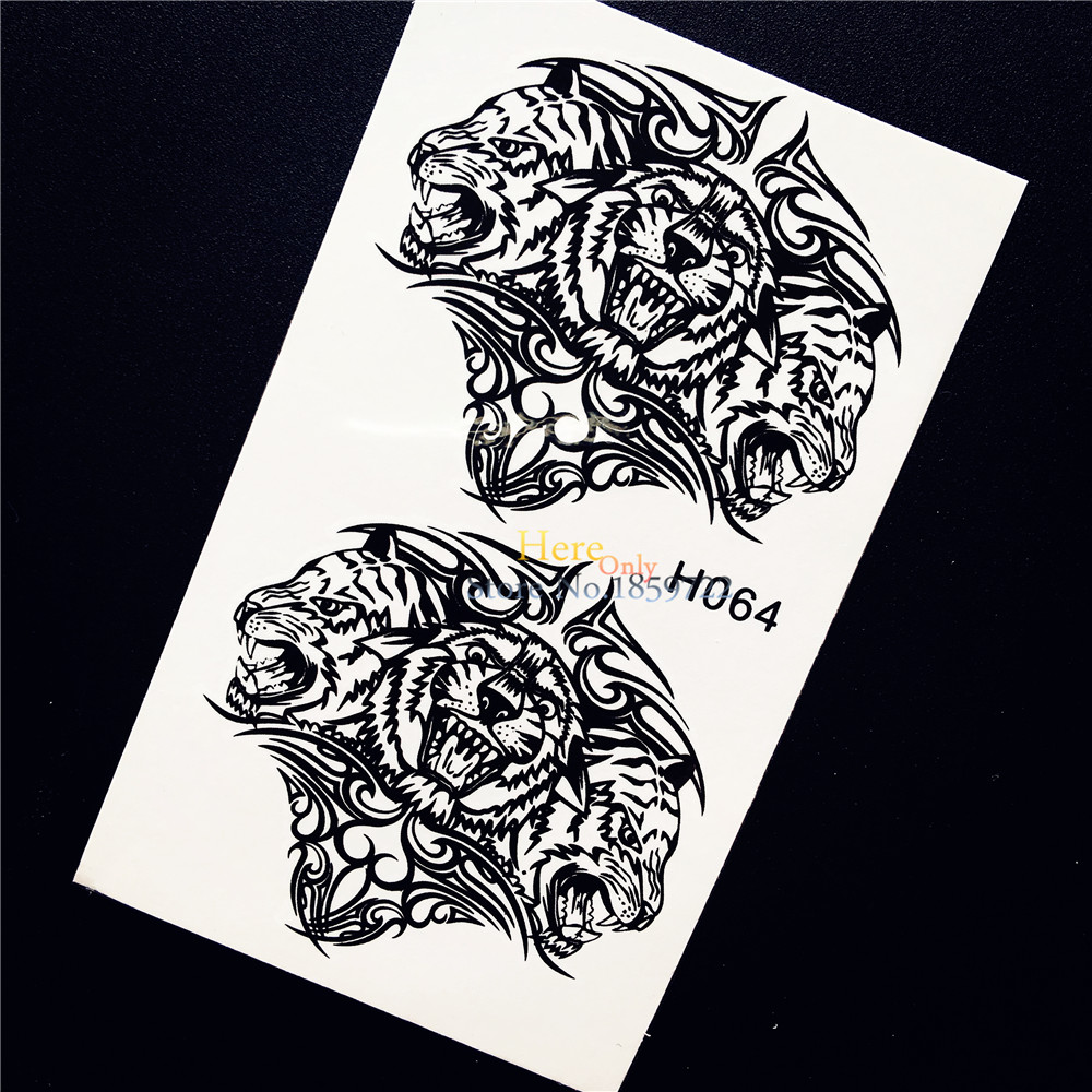 1PC Fashion Men Women Temporary Tattoo Tigerish Tiger King Design Waterproof Henna Arm Leg Decals Fake Tattoo Sticker Taty HH064