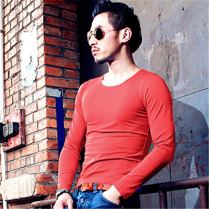 2018 mode männer lange-ärmeln T-shirt einfarbig eng anliegende rundhals beiläufige dünne bodenbildung shirt WMY12