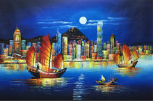 Hot Sale Hand Painted Modern Knife Canvas Oil Painting Hong Kong City Night Landscape Wall Art Pictures Painting for Living Room