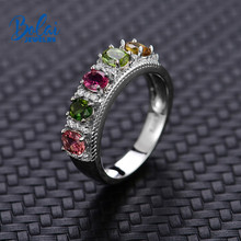Bolai 100% natural tourmaline ring 925 sterling silver fancy color five-stone gemstone fine jewelry for women wedding rings 2019 bolai 100% natural tourmaline ring 925 sterling silver fancy color five stone gemstone fine jewelry for women wedding rings 2019
