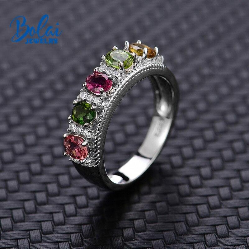 Bolai 100% naturel tourmaline anneau 925 en argent sterling fantaisie couleur cinq pierres précieuses fine bijoux pour femmes anneaux de mariage 2019
