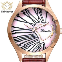 GW1166 SHARLIS Impermeable Encanto Pulseras de Corazón Las Mujeres Del Reloj Reloj de pulsera de Cuarzo de Cuero de Moda Casual Relojes Relogio Feminino