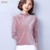 Autumn Winter Women Long Sleeve Velour Mesh Stitch Bottoming Shirts Tops Plus Size M XXXL Lady