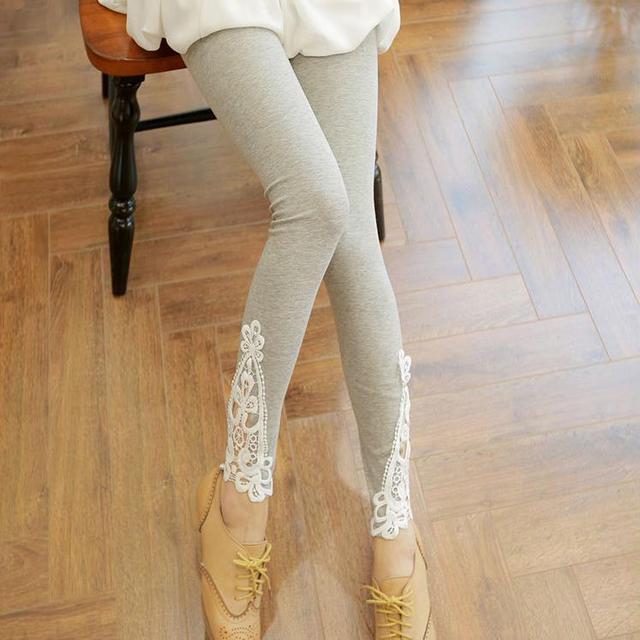 2016 Mulheres Primavera Verão Leggings de Renda Ocos Skinny Leggins Elastic Leggings Casuais Calças de Cores Doces Para As Mulheres