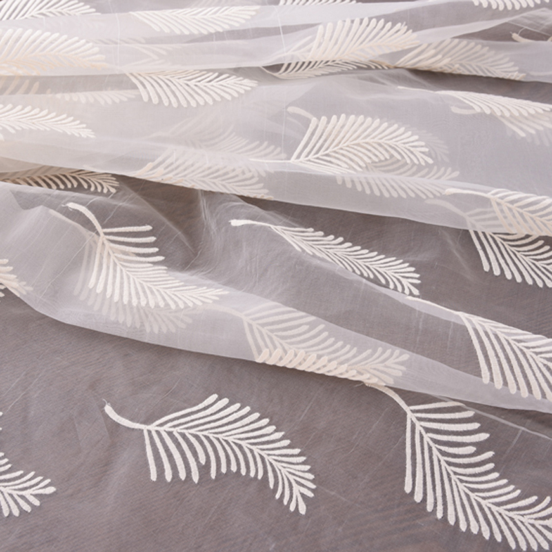 140CM Wide White Leaves Embroideried Silk Organza Lace Fabric for Spring Summer EDress Skirt Jacket H138