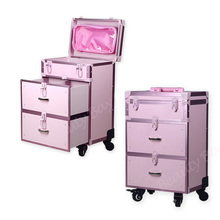 4 wheels Case type Aluminum frame makeup trolley case for nail polish, pink and black colors for option