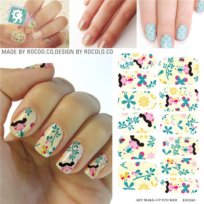 Water Transfer Purple Rose Design Nails Stickers Manicure Styling ...