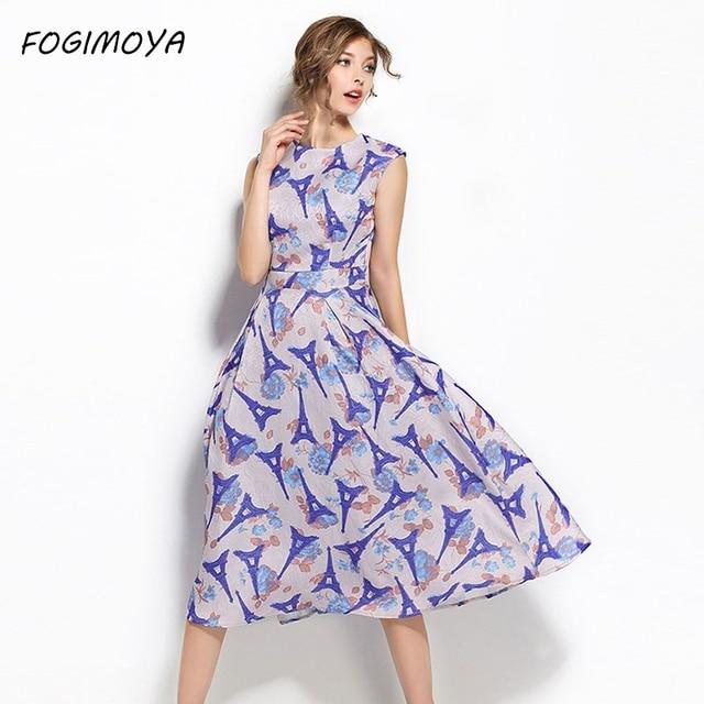 Fogimoya платье женские летние Мода 2017 печати Bodycon с круглым вырезом Длинные платья Женская без рукавов талии Фирменная Новинка Длинные платье с принтом