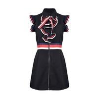 Summer 2019 Runway Black Dress Mini Women Vintage Ruffles Striped Zipper Sarafan Dresses A line Festival Party Tunic Clothes