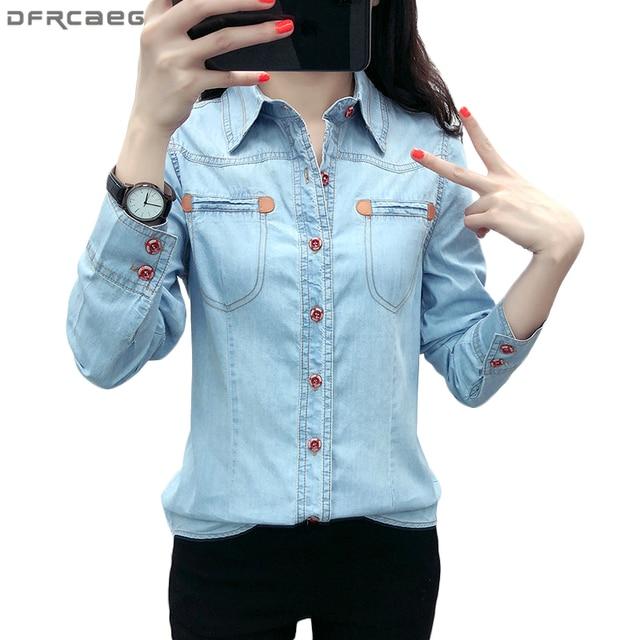 Осень 2018 г. Повседневное Camisa джинсы для женщин Feminina с длинным рукавом джинсовая рубашка для плюс размеры блузка кнопка карманы сорочка