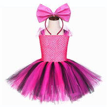 Fluffy Tulle Lol Doll Girl Dress Kid Surprise Doll Pattern Graduation Dresses for Girls Knee Length Tutu Dress with Lol Headband girl dresses new surprise cartoon pattern flying sleeve big eye doll children s dress