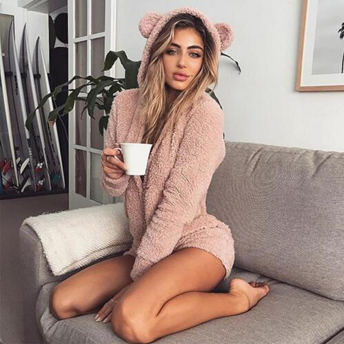 HKSNG Women High Quality Warm Pink Hooded Rabbit Ear Fleece Onesie Velvet Cute Kigurumi Plus Size Jumpsuit Homewear Pajamas