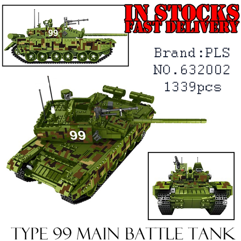 PLS Military 632002 1339pcs Type 99 Main Battle Tank Building Blocks Bricks enlighten toys for children Birthday gifts brinquedo 8 in 1 military ship building blocks toys for boys