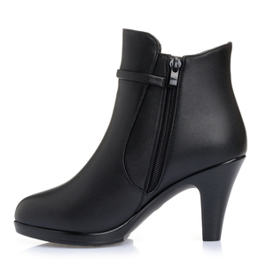 Image 5 - 2020 NEW Fashion Genuine Leather Women Ankle Boots High Heels Zipper Shoes Warm Fur Winter Boots for Women