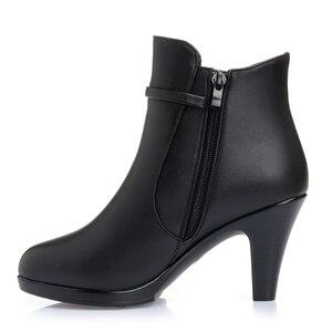 Image 5 - Bottines en cuir véritable pour femmes, chaussures à talons hauts et fermeture éclair, bottines chaudes dhiver, nouvelle mode, 2020