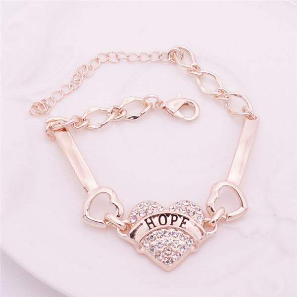 ce5cff9abd US $1.19 39% OFF DIY Hope Letters Bracelets Women Silver Crystal Rhinestone  Heart Charm Bracelet Best Friend Gift Anchor Bracelet-in Charm Bracelets ...