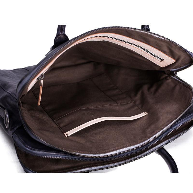 Vintage Vegetable Tanned Men Leather Briefcase Messenger Bag Laptop Bag 5