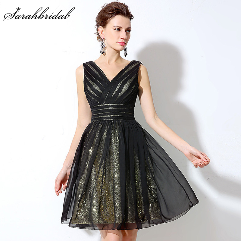 Sexy Backless Sequined Short Prom Dresses Real Photo Ballkleider V-neck Black A-line Party Gowns Vestidos De Noche SD248