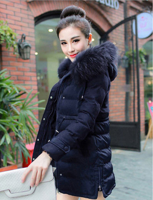 New Arrival 2014 Winter Thick Long Cotton-Padded Coats Women Wool Patchwork Raccoon Fur Collar Overcoat Print Hooded Coat E882 2017 winter new clothes to overcome the coat of women in the long reed rabbit hair fur fur coat fox raccoon fur collar