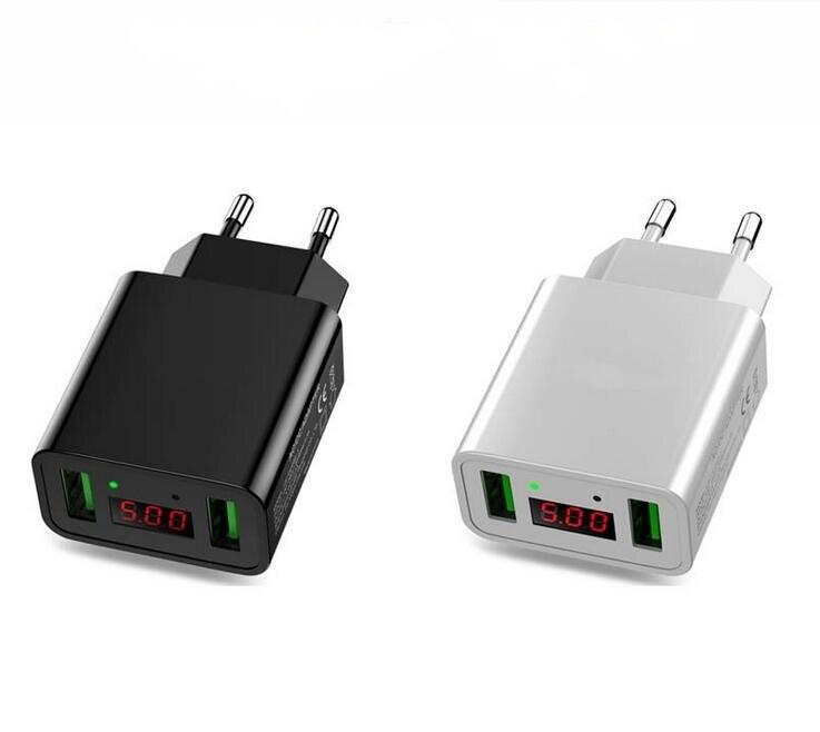 Port Charger Adapter With Digital Display: Smart Digital Dual USB 5V Fast Charger Voltage Current