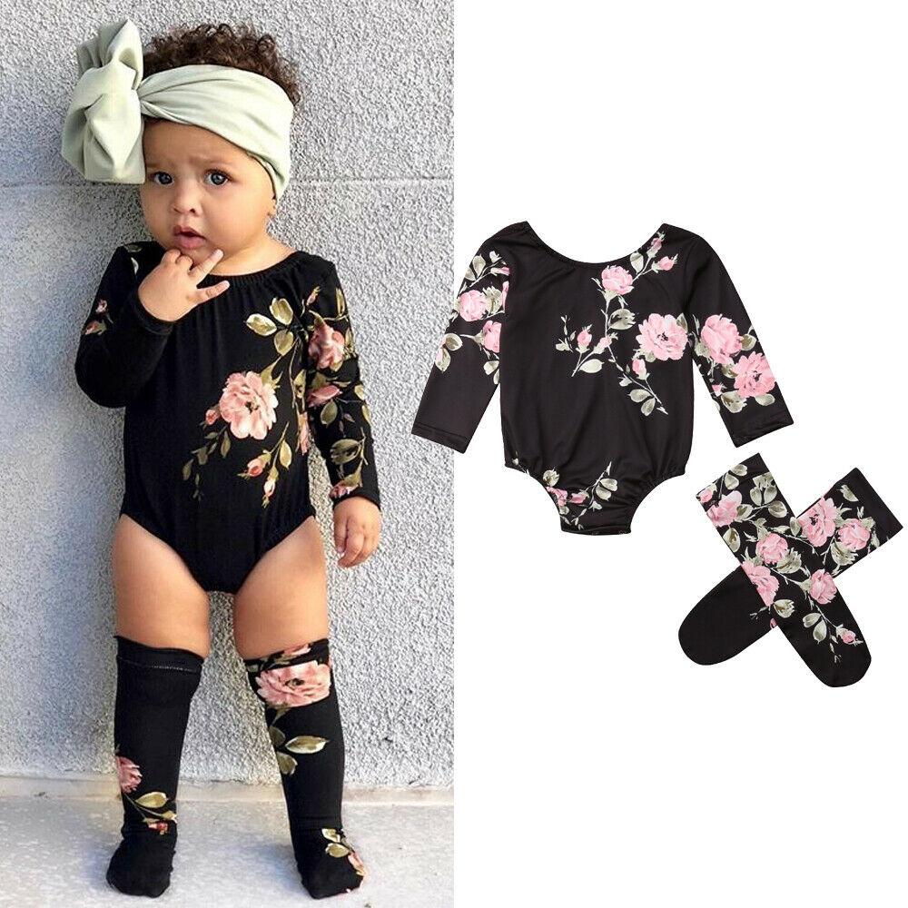Newborn Baby Girl Clothes Long Sleeve Flower Print