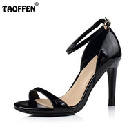 Lady Real Leather Sexy Girls High Heels Sandals Open Toe Ankle Strap Party Wedding Shoes Women