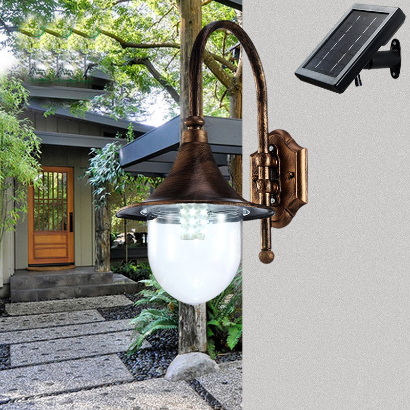 Solar Power Light European Style Copper Wall Lamp Landscape Garden Outdoor Corridors Balcony Retro WaterProof Outdoor Lighting newest style led solar wall light solar lamp outdoor solar garden decorative lamp